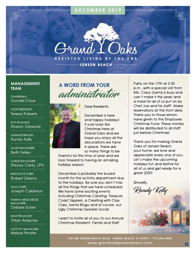 Grand Oaks of Jensen Beach Newsletter