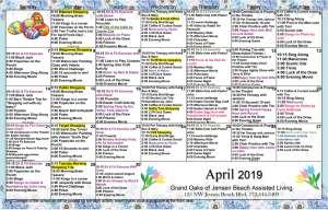 Grand Oaks Jensen Beach Calendar April 2019